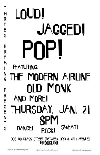 The Modern Airline and Old Monk at 3s Brewing Thurs. Jan. 21